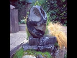 Singing Goddess garden art yard sculptures stone artist abstract sculpture